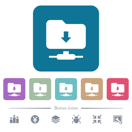 FTP navigate down white flat icons on color rounded square backgrounds. 6 bonus icons included