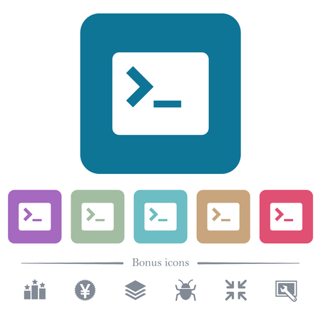 Command terminal white flat icons on color rounded square backgrounds. 6 bonus icons included Illustration