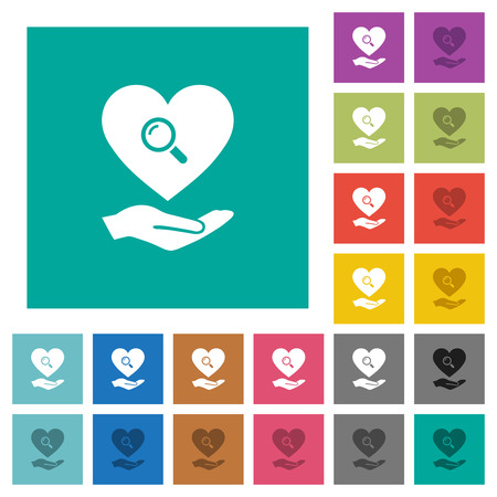 Dating service multi colored flat icons on plain square backgrounds. Included white and darker icon variations for hover or active effects. Иллюстрация