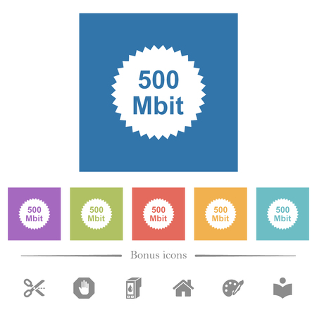500 mbit guarantee sticker flat white icons in square backgrounds. 6 bonus icons included.