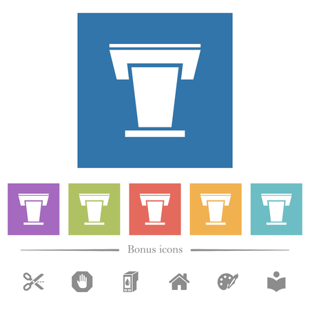 Conference podium flat white icons in square backgrounds. 6 bonus icons included.