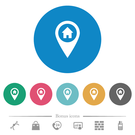 Home address GPS map location flat white icons on round color backgrounds. 6 bonus icons included.