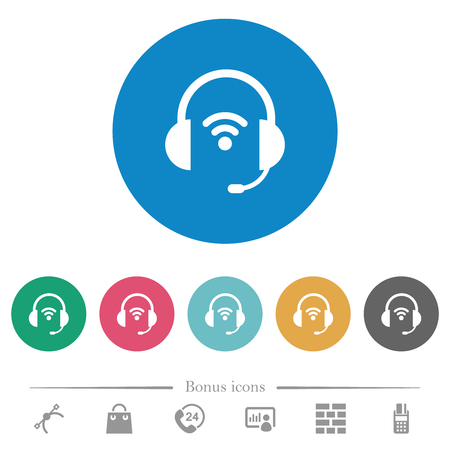 Wireless headset flat white icons on round color backgrounds. 6 bonus icons included. Vetores