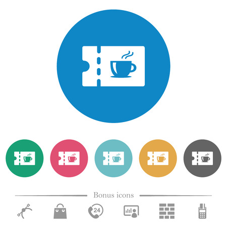 Coffee house discount coupon flat white icons on round color backgrounds. 6 bonus icons included.