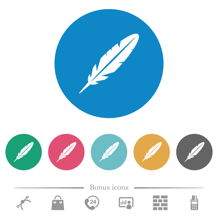 Single feather flat white icons on round color backgrounds. 6 bonus icons included. Illustration