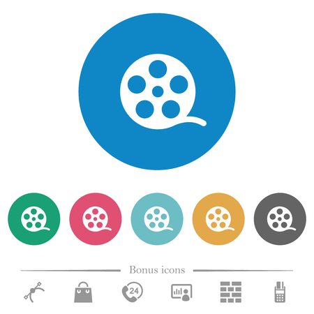 Movie roll flat white icons on round color backgrounds. 6 bonus icons included. 矢量图像