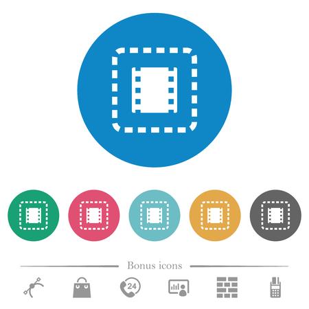 Placez les icônes blanches plates du film sur des arrière-plans de couleur ronde. 6 icônes bonus incluses.