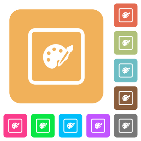 Adjust object color flat icons on rounded square vivid color backgrounds.