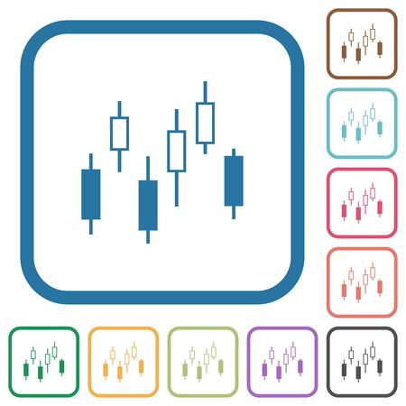 Icônes simples de graphique de chandelier dans des cadres carrés arrondis de couleur sur le fond blanc