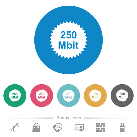 250 mbit guarantee sticker flat white icons on round color backgrounds. 6 bonus icons included.