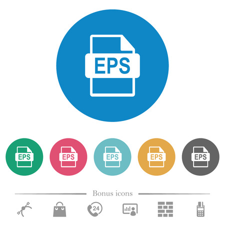 EPS file format flat white icons on round color backgrounds. 6 bonus icons included.