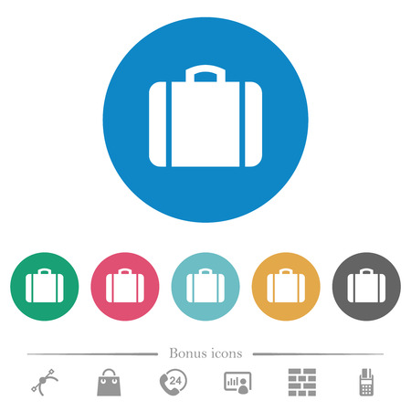 Suitcase flat white icons on round color backgrounds. 6 bonus icons included.
