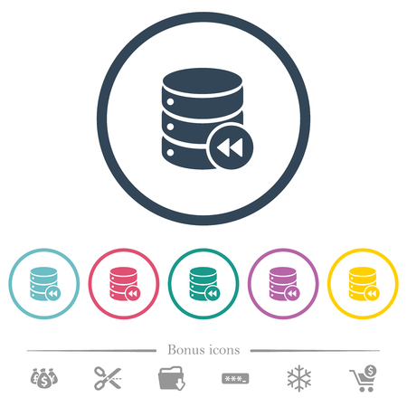 Database macro fast backward flat color icons in round outlines. 6 bonus icons included.
