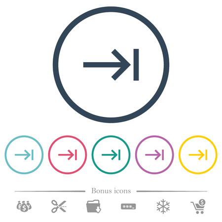 Keyboard tab flat color icons in round outlines. 6 bonus icons included.