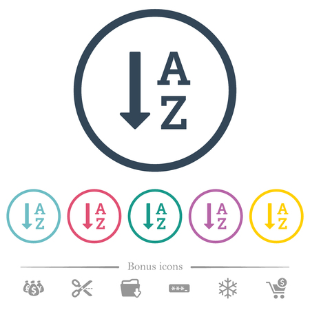 Alphabetically ascending ordered list flat color icons in round outlines. 6 bonus icons included. Vektorové ilustrace