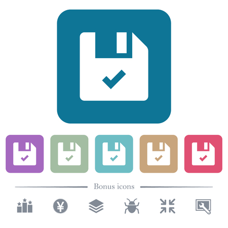 File ok white flat icons on color rounded square backgrounds. 6 bonus icons included