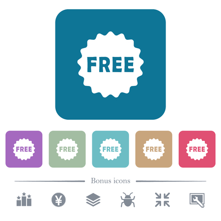 Free sticker white flat icons on color rounded square backgrounds. 6 bonus icons included Ilustrace