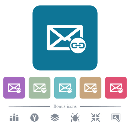 Mail attachment white flat icons on color rounded square backgrounds. 6 bonus icons included