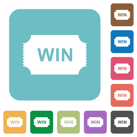 Winner ticket white flat icons on color rounded square backgrounds
