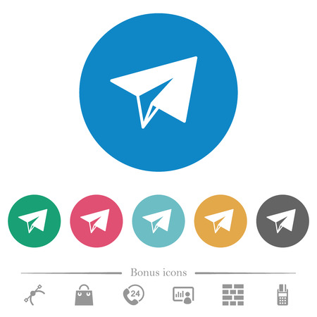 Paper plane flat white icons on round color backgrounds. 6 bonus icons included.