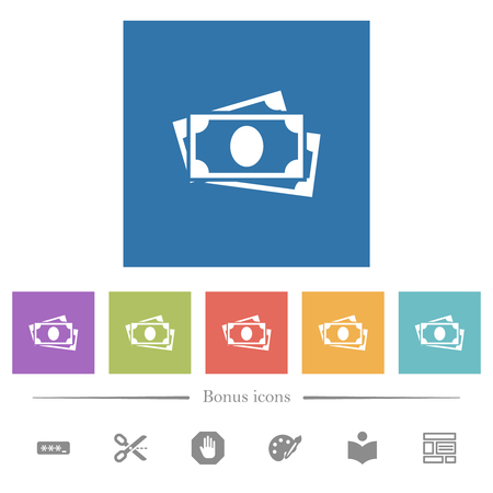 More banknotes flat white icons in square backgrounds. 6 bonus icons included.