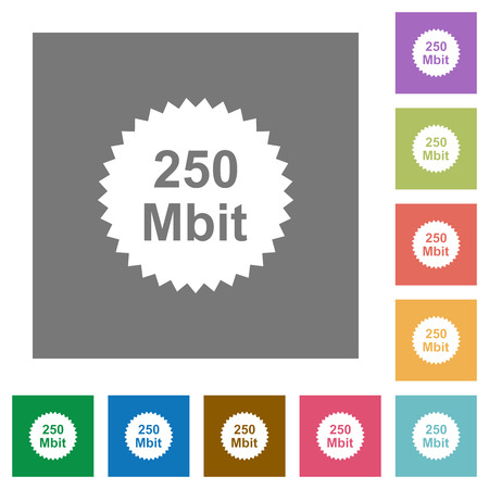 250 mbit guarantee sticker flat icons on simple color square backgrounds