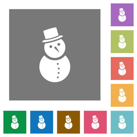 Snowman flat icons on simple color square backgrounds Ilustração
