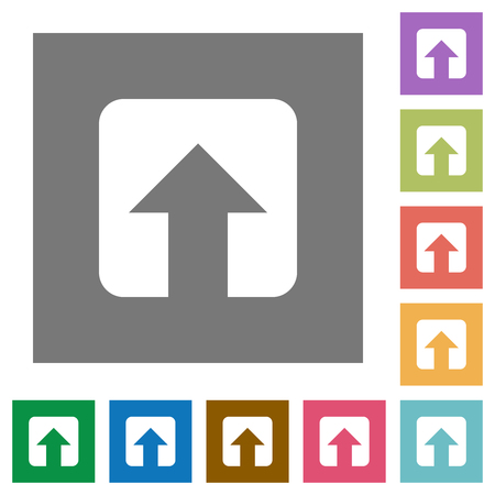Upload flat icons on simple color square backgrounds Ilustrace
