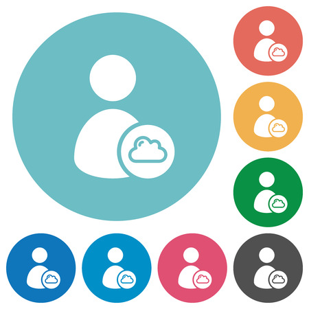 Cloud user account management flat white icons on round color backgrounds  イラスト・ベクター素材