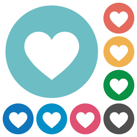 Heart card symbol flat white icons on round color backgrounds