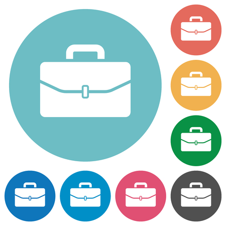 Satchel with one buckle flat white icons on round color backgrounds Illustration