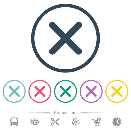 Cross flat color icons in round outlines. 6 bonus icons included.