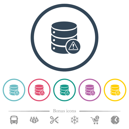 Database error flat color icons in round outlines. 6 bonus icons included.