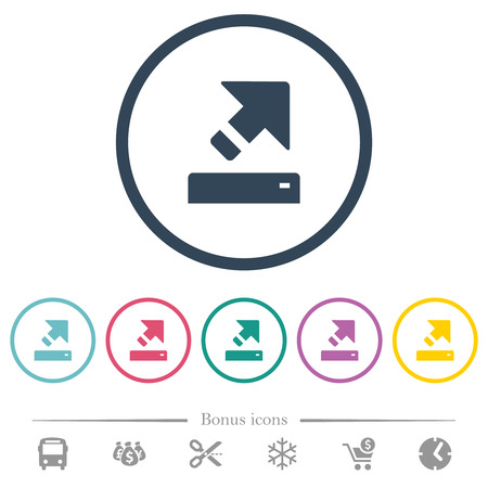 Export flat color icons in round outlines. 6 bonus icons included.