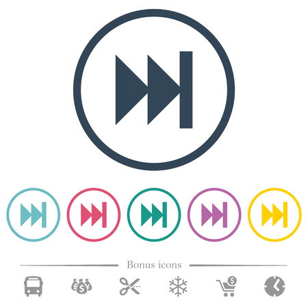 Media fast forward flat color icons in round outlines. 6 bonus icons included.