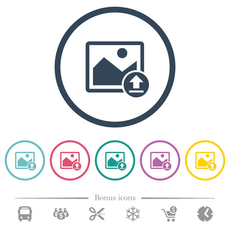 Upload image flat color icons in round outlines. 6 bonus icons included.