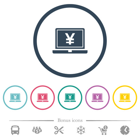 Laptop with yen sign flat color icons in round outlines. 6 bonus icons included.