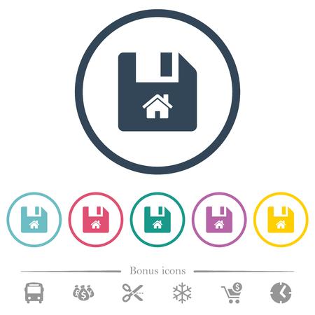 Start file flat color icons in round outlines. 6 bonus icons included. Ilustração