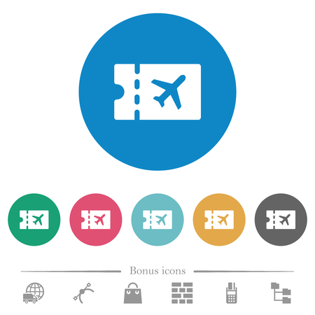 Air travel discount coupon flat white icons on round color backgrounds. 6 bonus icons included.