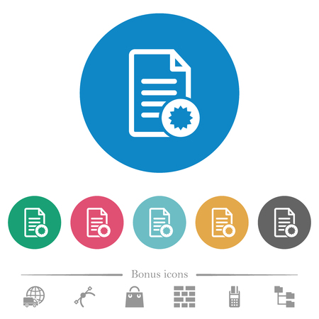 Document certificate flat white icons on round color backgrounds. 6 bonus icons included.