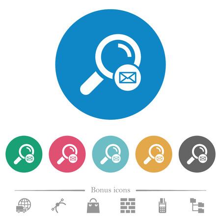 Search address flat white icons on round color backgrounds. 6 bonus icons included. Ilustração
