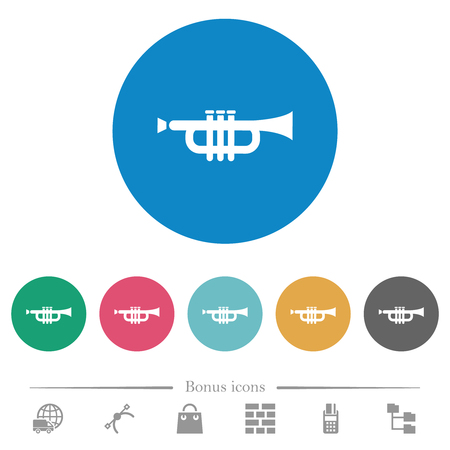 Trumpet flat white icons on round color backgrounds. 6 bonus icons included. Illustration