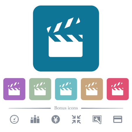 Clapperboard white flat icons on color rounded square backgrounds. 6 bonus icons included Иллюстрация