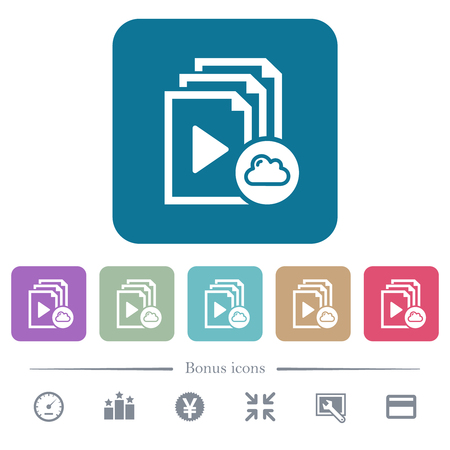 Cloud playlist white flat icons on color rounded square backgrounds. 6 bonus icons included Vektorové ilustrace