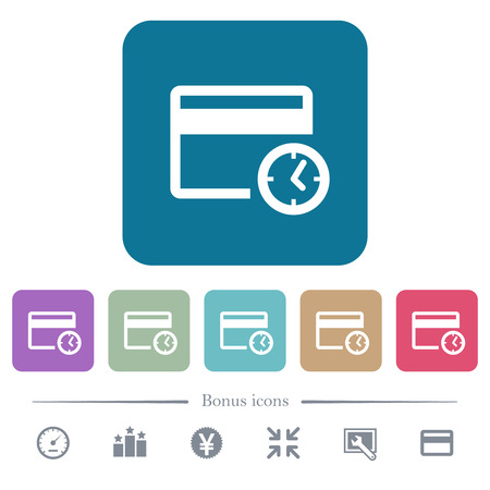 Credit card transaction history white flat icons on color rounded square backgrounds. 6 bonus icons included