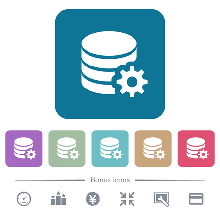 Database configuration white flat icons on color rounded square backgrounds. 6 bonus icons included