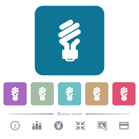 Energy saving fluorescent light bulb white flat icons on color rounded square backgrounds. 6 bonus icons included Illustration