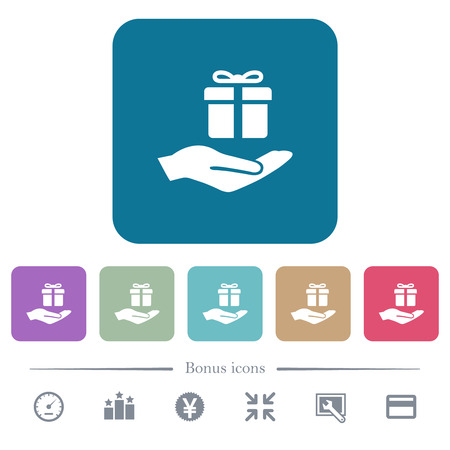 Gifting white flat icons on color rounded square backgrounds. 6 bonus icons included Ilustrace