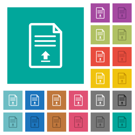 Upload document multi colored flat icons on plain square backgrounds. Included white and darker icon variations for hover or active effects.