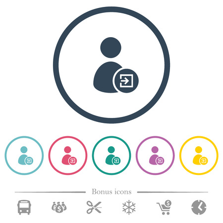 Import user data flat color icons in round outlines. 6 bonus icons included.